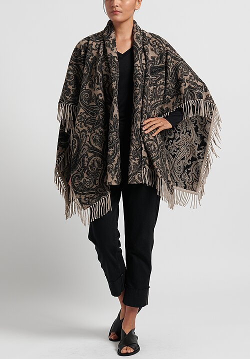 Etro Paisley Print 2-Piece Poncho in Natural