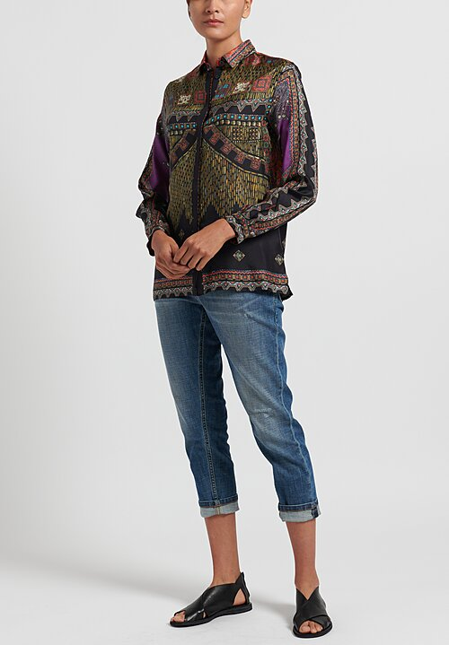 Etro Silk Multiprint Placket Shirt in Black/Purple