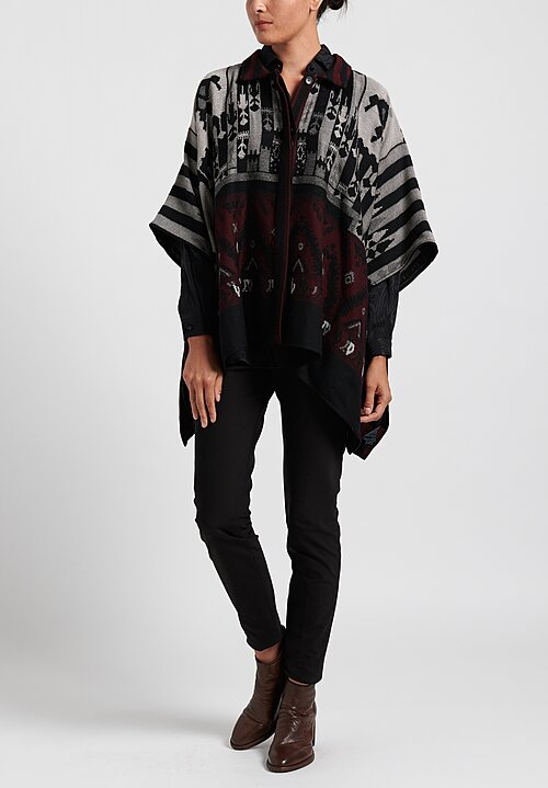 Etro Point Collar Poncho in Grey/ Maroon Multi
