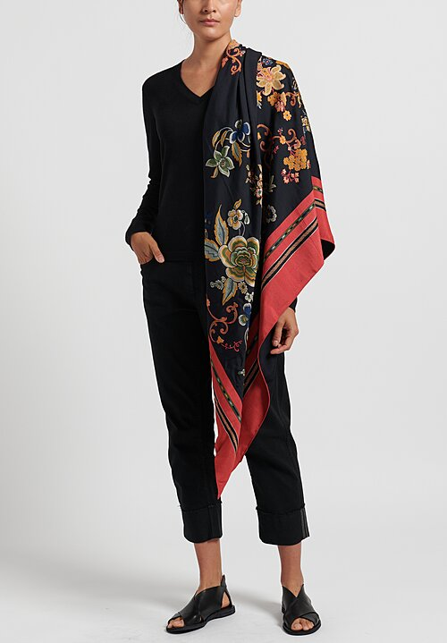 Etro Embroidered Floral Dragon Scarf Black/ Red