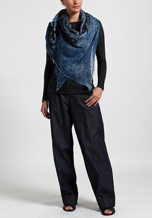 Avant Toi Cashmere Distressed Print Scarf in Deep Blue
