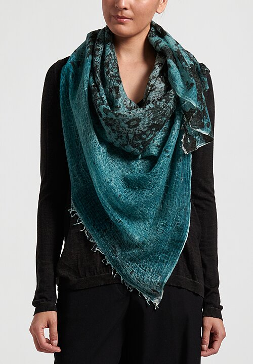 Avant Toi Cashmere Distressed Print Scarf in Pavone