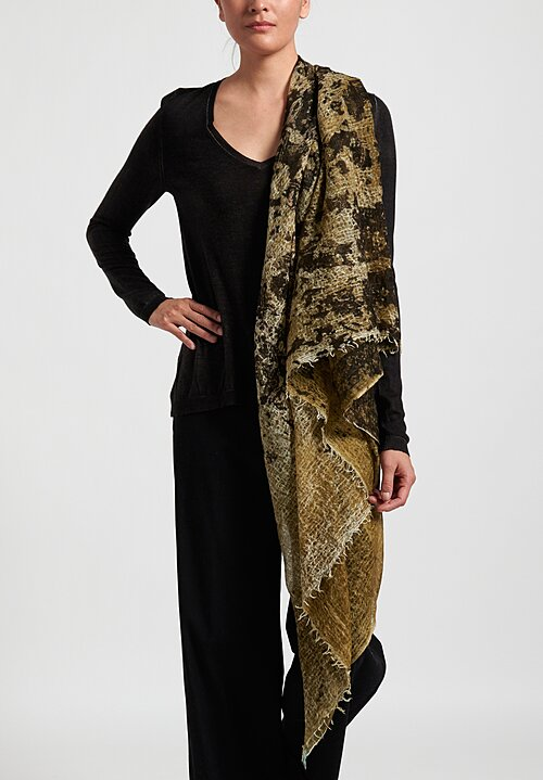 Avant Toi Cashmere Distressed Print Scarf in Olive