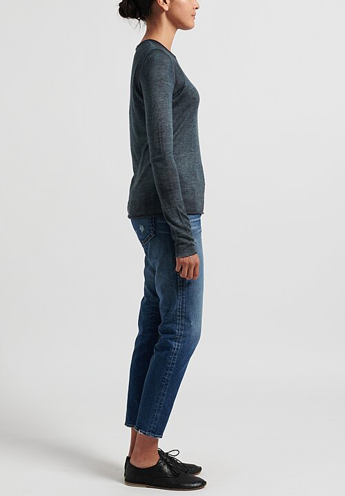 Avant Toi Cashmere/ Silk Lightweight Fitted Rolled Hem Sweater