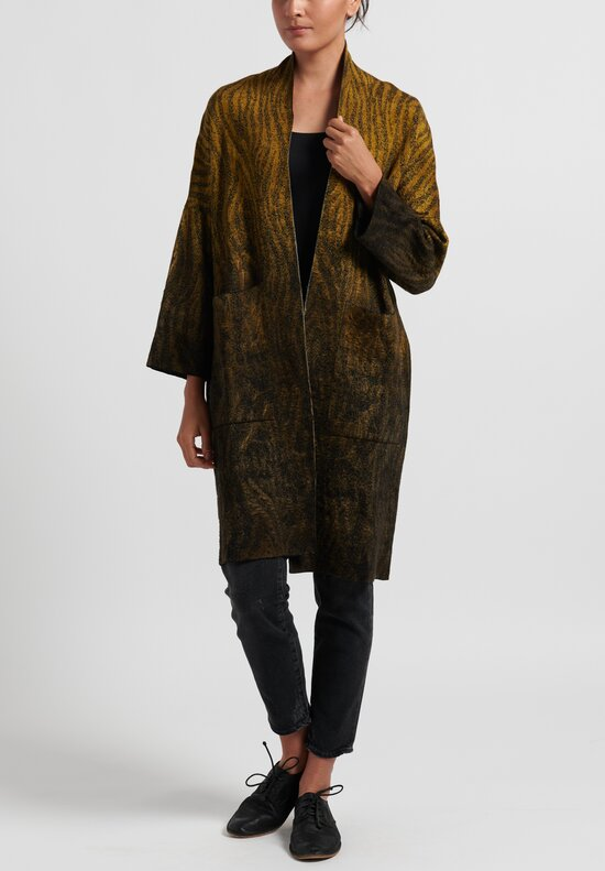 Avant Toi Ombre Animal Print Duster in Gold