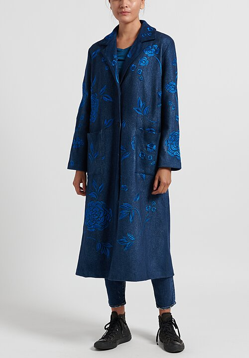 Avant Toi Notch Lapel Felted Coat with Rose Embroidery in Navy