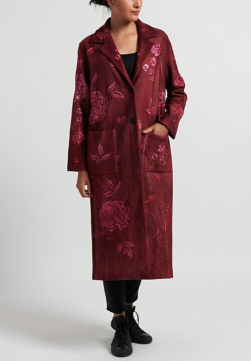 Avant Toi Notch Lapel Felted Coat with Rose Embroidery in Wine