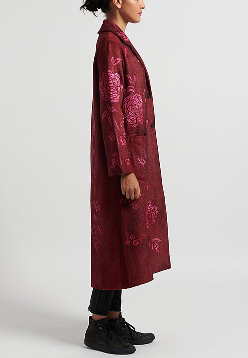 Avant Toi Notch Lapel Felted Coat with Rose Embroidery in Nero/ Wine