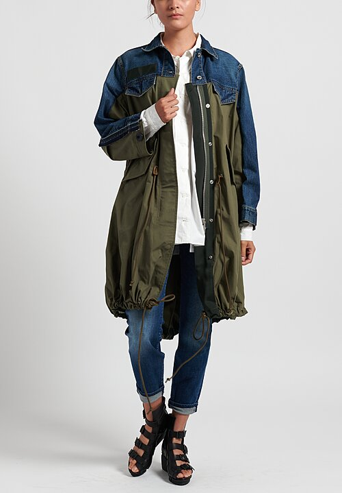 Sacai Denim x Mods Coat in Blue/ Khaki