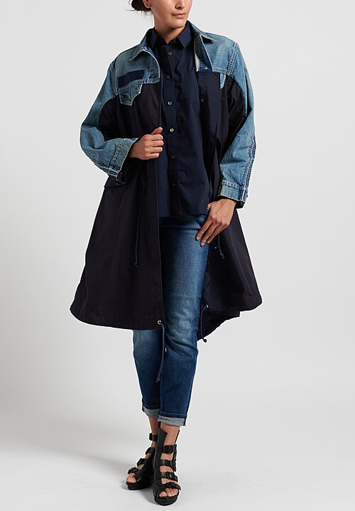 Sacai Cotton Poplin Pleated Back Shirt in Navy