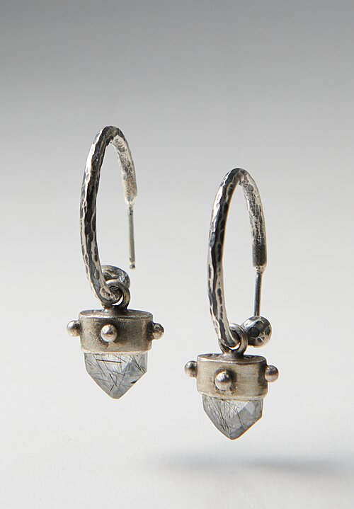 Miranda Hicks Faceted Tourmalated Quartz Mega Hoop Earrings