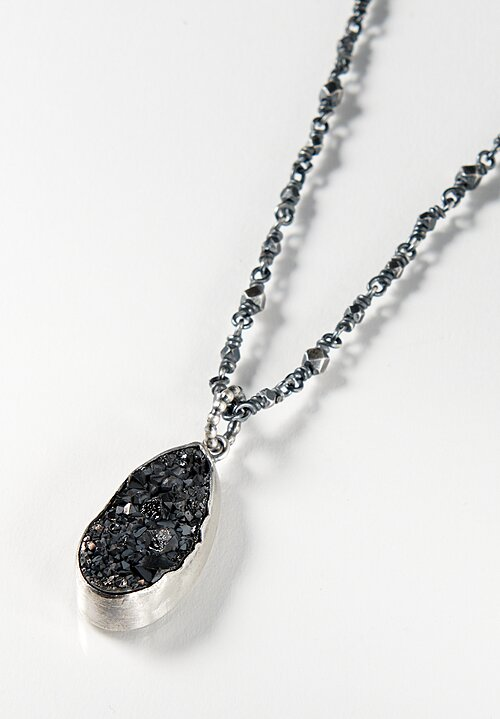 Miranda Hicks Black Druzy Long Mineral Necklace