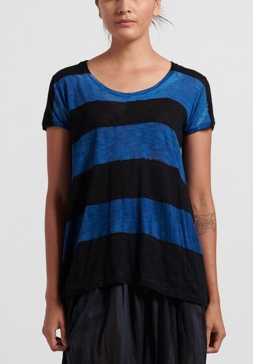 Gilda Midani Pattern Dyed Short Sleeve Monoprix Tee in Black + Klein