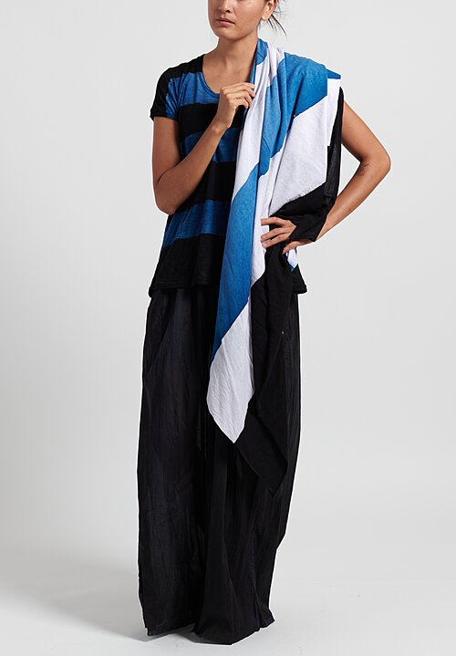 Gilda Midani Pattern Dyed Cotton Foulard Scarf in Stripes Black + Klein + White