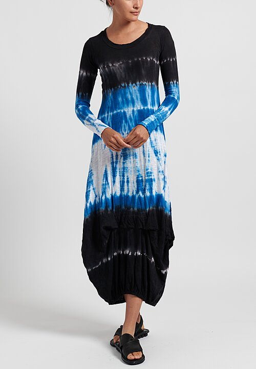 Gilda Midani Pattern Dyed Long Balloon Dress in Blue