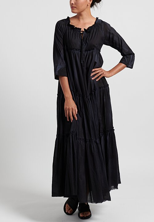 Gilda Midani Cotton Solid Dyed Paysanne Dress in Black