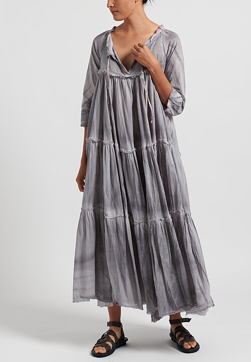 Gilda Midani Cotton Solid Dyed Paysanne Dress in Shadow