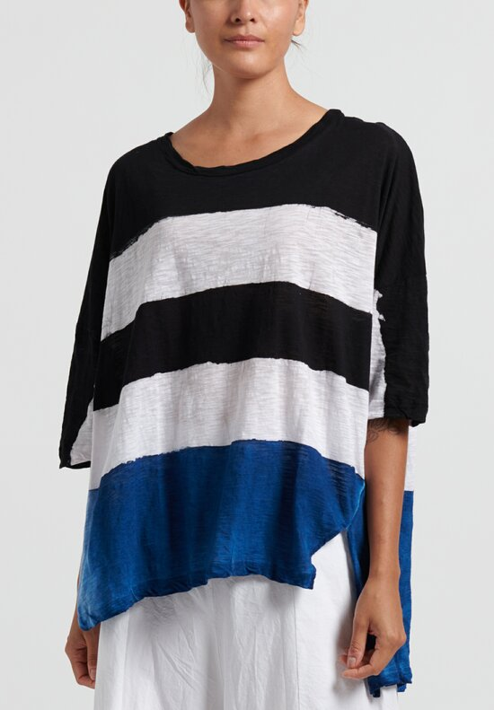 Gilda Midani Pattern Dyed Short Sleeve Super Tee in Stripes Black + Klein + White