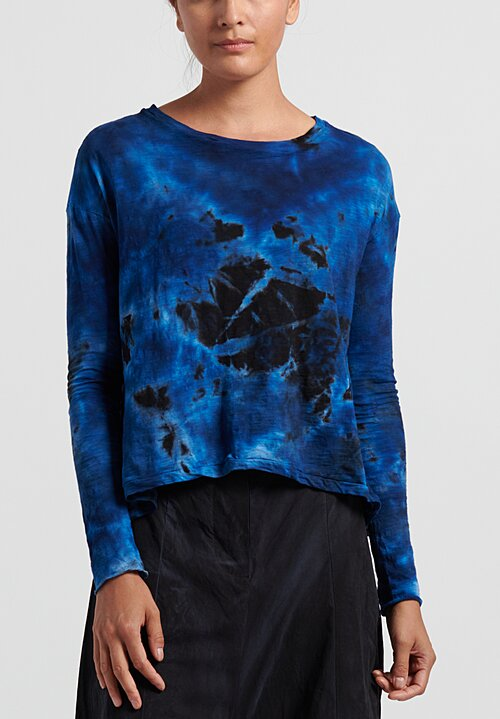 Gilda Midani Pattern Dyed Long Sleeve Trapeze Knit Top in Deep Space