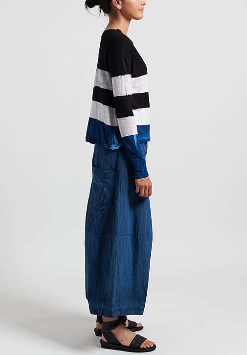 Gilda Midani Pattern Dyed Long Sleeve Trapeze Knit Top in Stripes Black + Klein + White