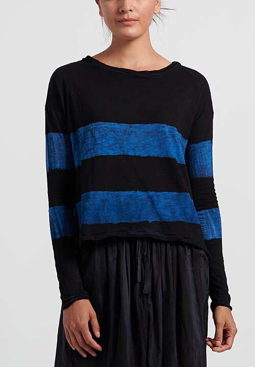 Gilda Midani Pattern Dyed Long Sleeve Trapeze Knit Top in Stripes Black + Klein