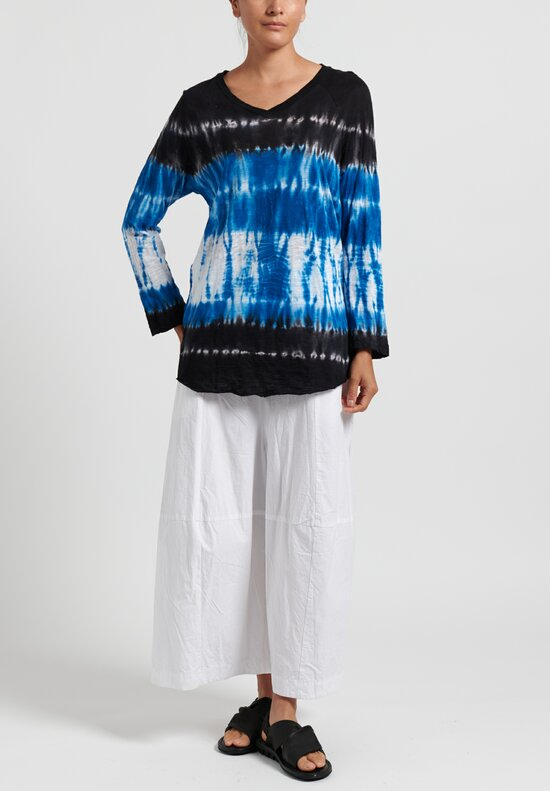 Gilda Midani Pattern Dyed V-Neck Tunic Long Sleeve in Blue Row