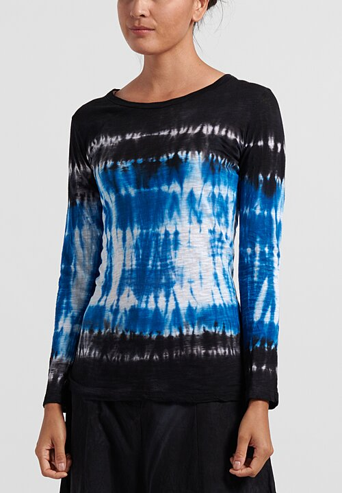 Gilda Midani Pattern Dyed New Round Long Sleeve Tee in Blue