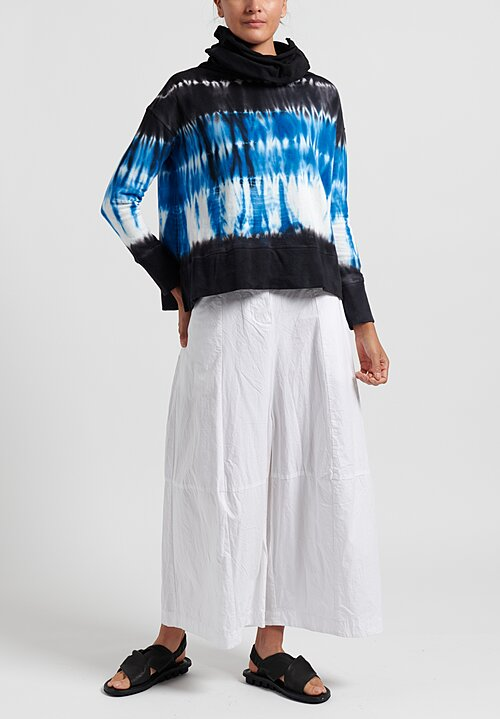 Gilda Midani Pattern Dyed Long Neck Long Sleeve T-Shirt in Blue Row