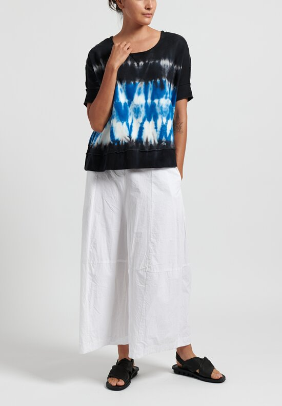 Gilda Midani Cotton Pattern Dyed Square Sweatshirt in Blue Row