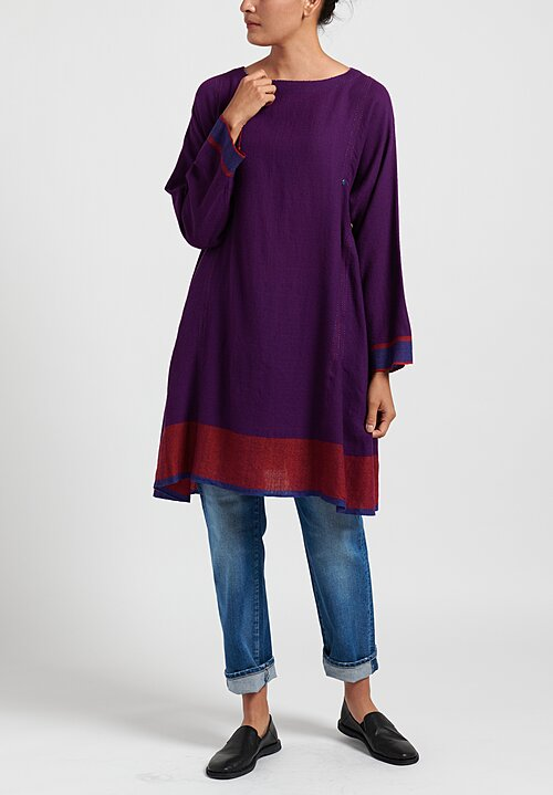 Pero Wool Color-Block Button Up Tunic Dress