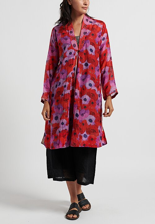 Pero Silk/ Cotton Floral V Neck Dress in Red/ Purple
