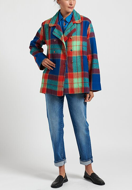 Pero Wool Double Breasted Plaid Jacket in Green/ Blue/ Red