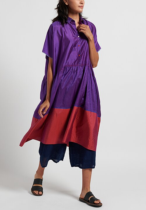 Pero Silk Oversize Color-Block Dress in Purple