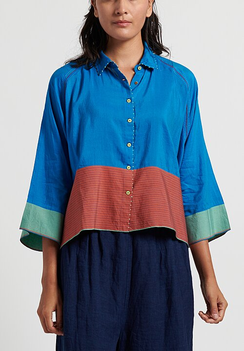 Pero Cotton/ Silk Button Down Shirt in Blue