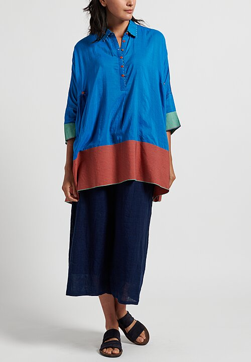 Pero Cotton/ Silk Color-Block Tunic in Blue