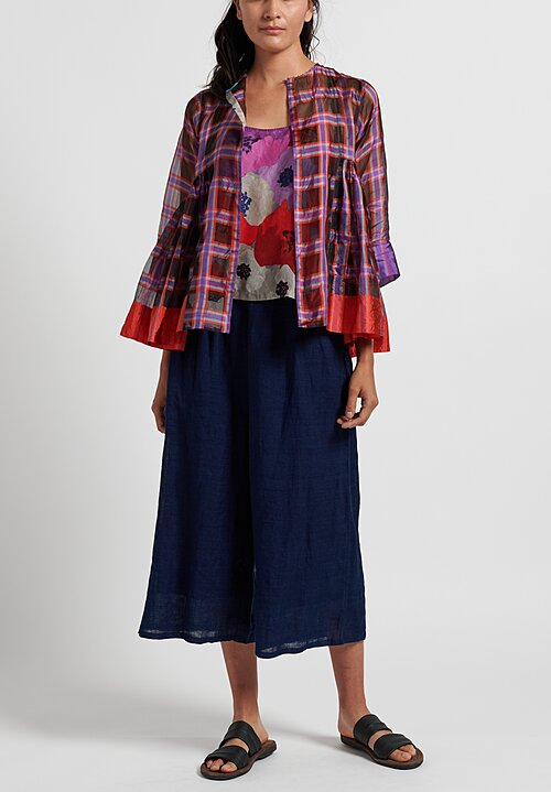 Péro 2-Piece Plaid Gathered Top in Purple/ Red