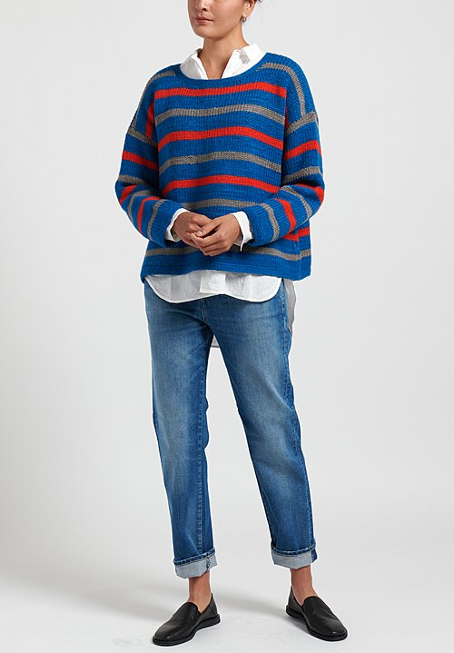 Pero Wool Crewneck Striped Sweater in Blue/ Red