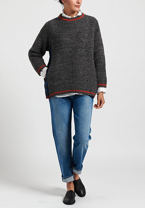 Pero Wool Sweater with Plaid Back in Grey