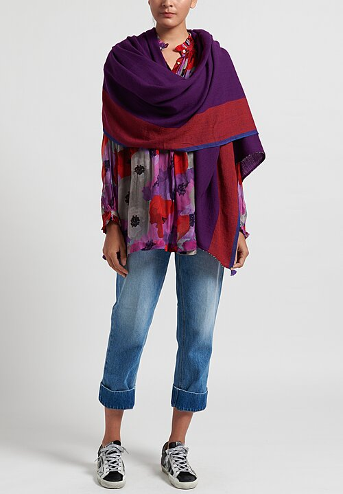 Pero Wool Striped Border Scarf Purple