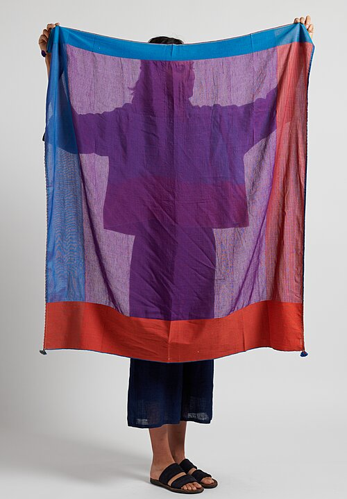 Pero Cotton/ Silk Multicolor Border Scarf Purple Multi