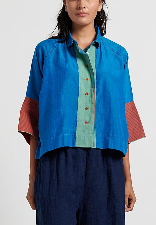 Pero Cropped Button Down Shirt in Blue