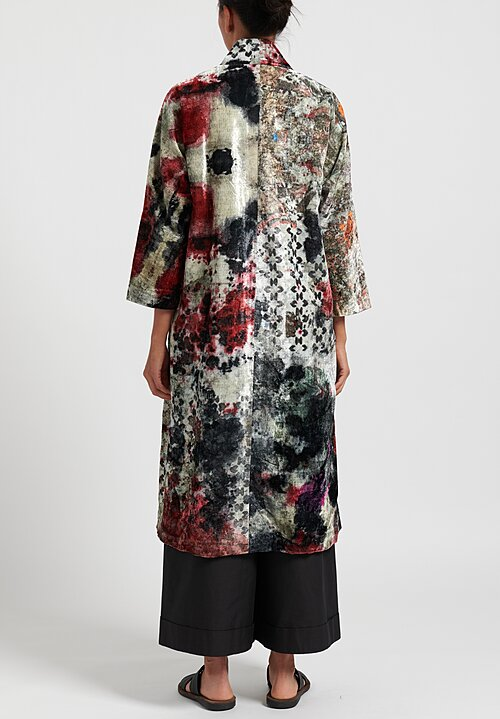 Yavi Silk Open Front Jacket in Red/ Grey