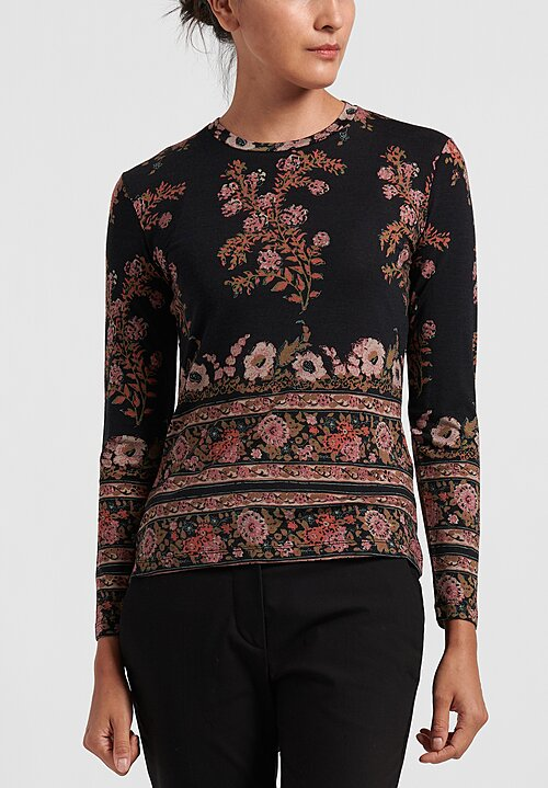 Etro Fitted Floral Lightweight Sweater in Black/ Rose