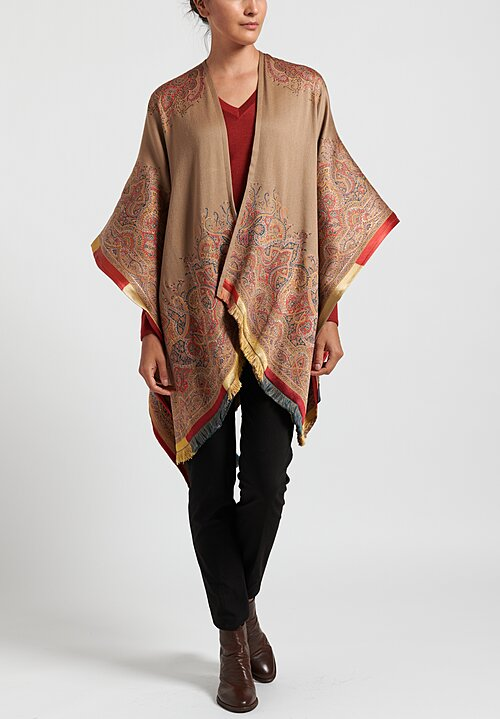 Etro Mantella Butterfly Cape Beige/ Red