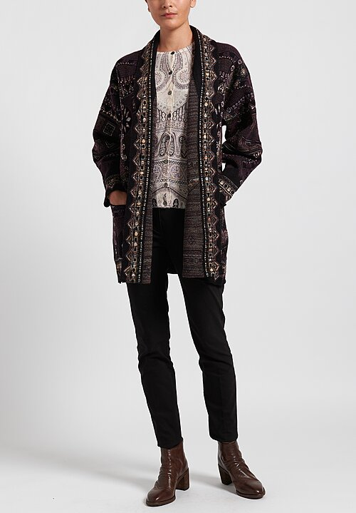 Etro Silk/ Cashmere Lightweight Fitted Milano Cardigan in White