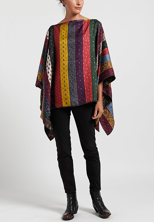 Etro Reversible Paisley/ Patchwork Print Poncho in Purple