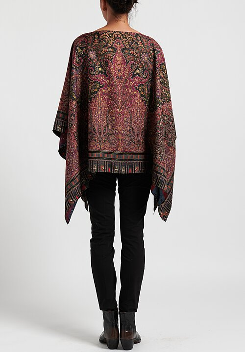 Etro Reversible Paisley/ Patchwork Print Poncho in Purple/ Black