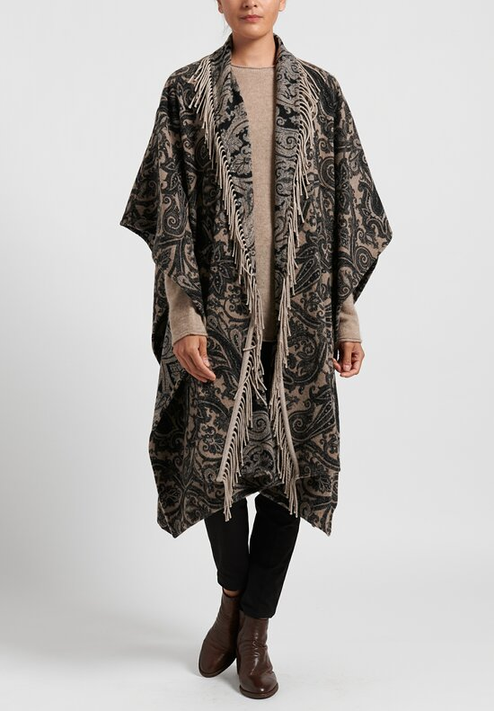 Etro Wool/ Silk Paisley Fringe Poncho in Natural