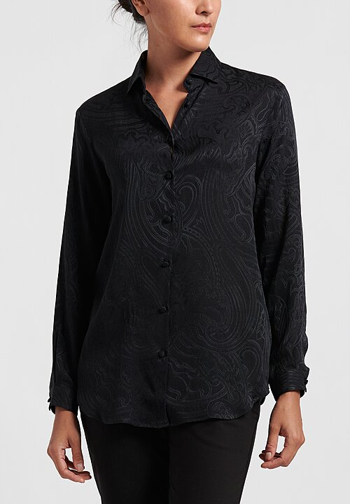 Etro Silk Jacquard Classic Button Up Shirt in Black
