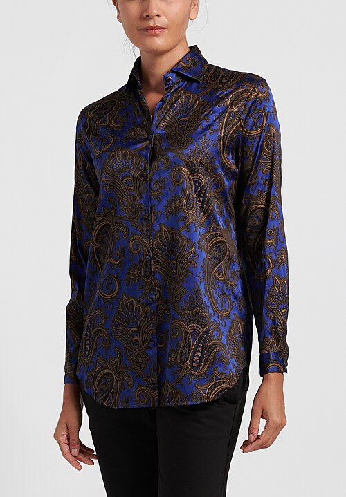 Etro Classic Paisley Button Up Shirt in Blue/ Gold